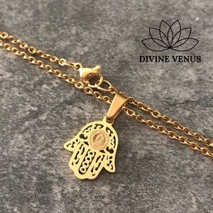 Hamsa Virgin Mary Stainless Steel Necklace